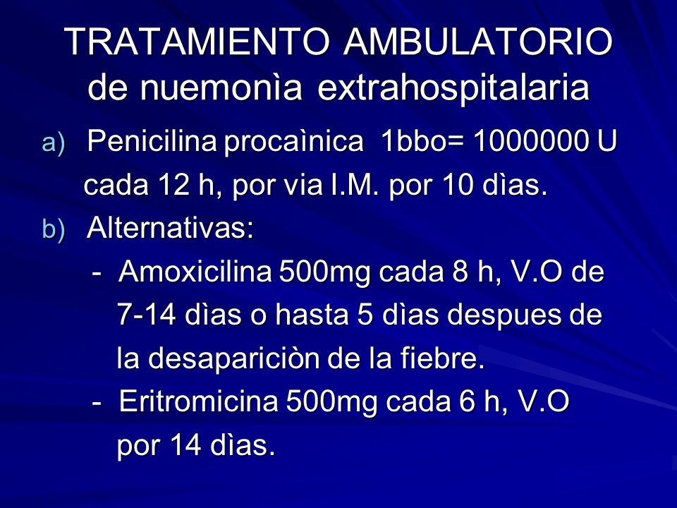 TRATAMIENTO AMBULATORIO de nuemonìa extrahospitalaria
