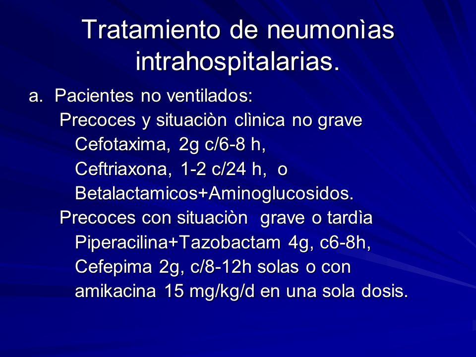 Tratamiento de neumonìas intrahospitalarias.
