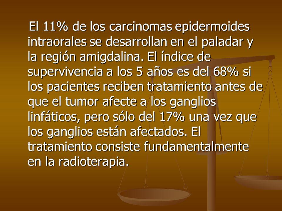 El 11% de los carcinomas epidermoides intraorales se desarrollan en el paladar y la región amigdalina.