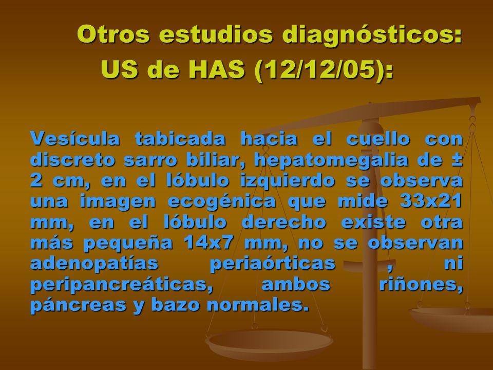Otros estudios diagnósticos: US de HAS (12/12/05):
