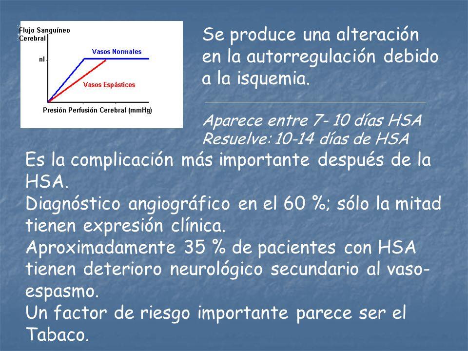Se produce una alteración en la autorregulación debido a la isquemia.