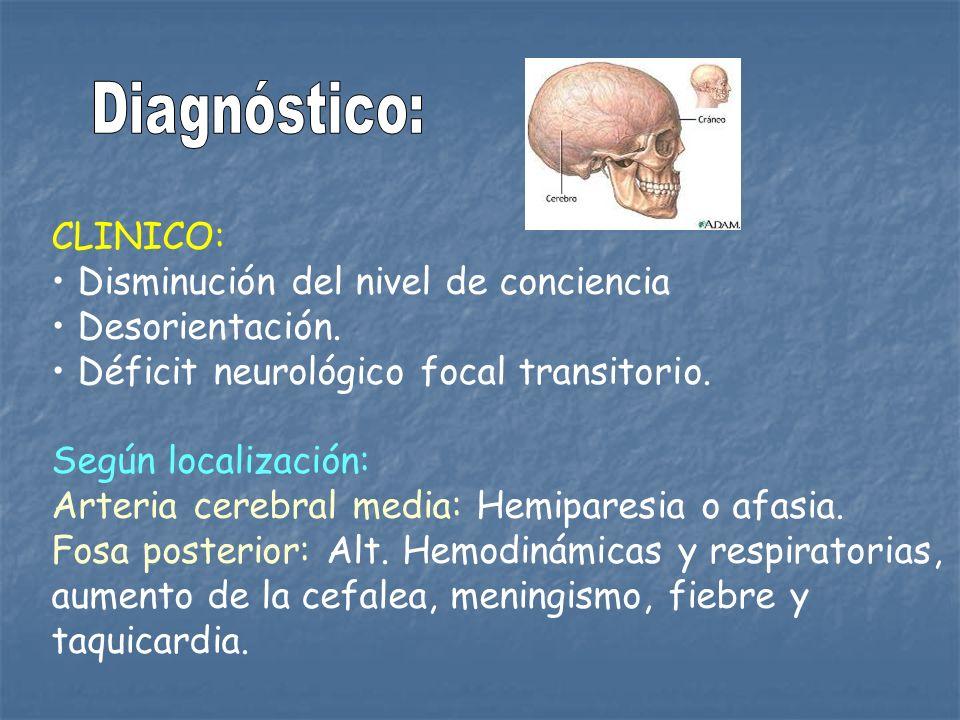 Diagnóstico: CLINICO: Disminución del nivel de conciencia