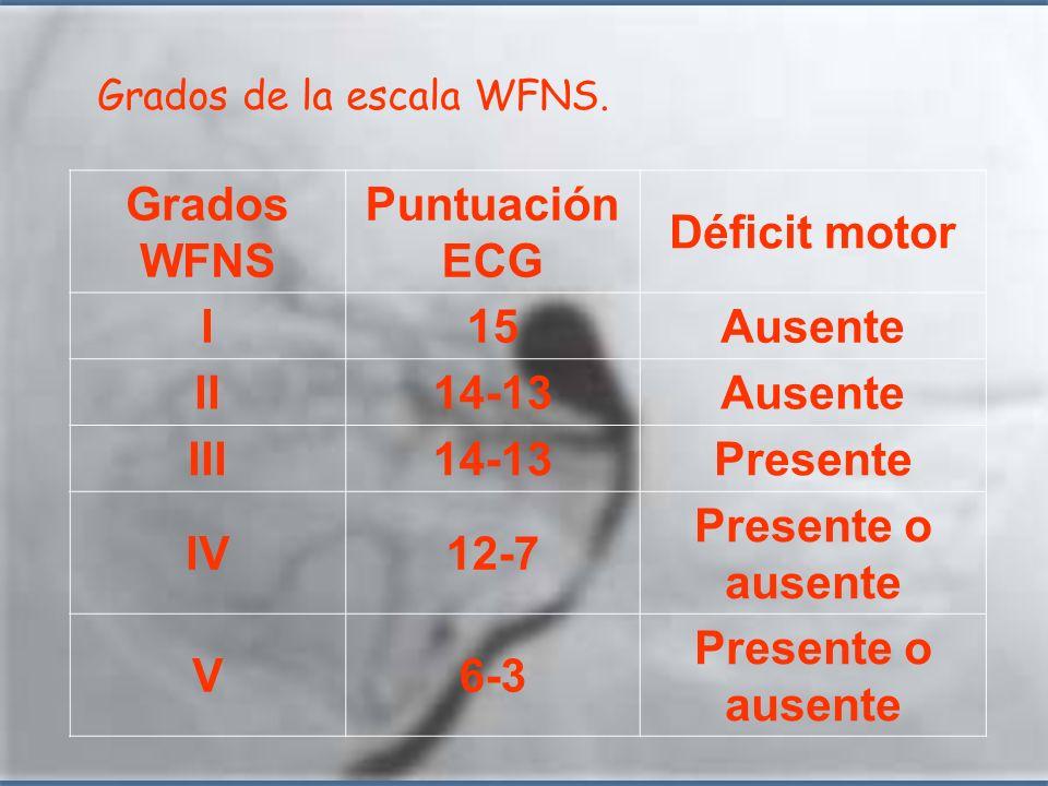 Grados WFNS Puntuación ECG Déficit motor I 15 Ausente II 14-13 III