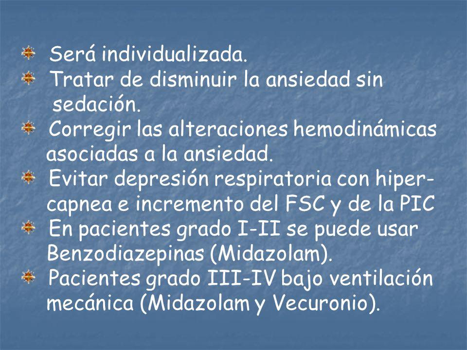 Será individualizada. Tratar de disminuir la ansiedad sin. sedación. Corregir las alteraciones hemodinámicas.