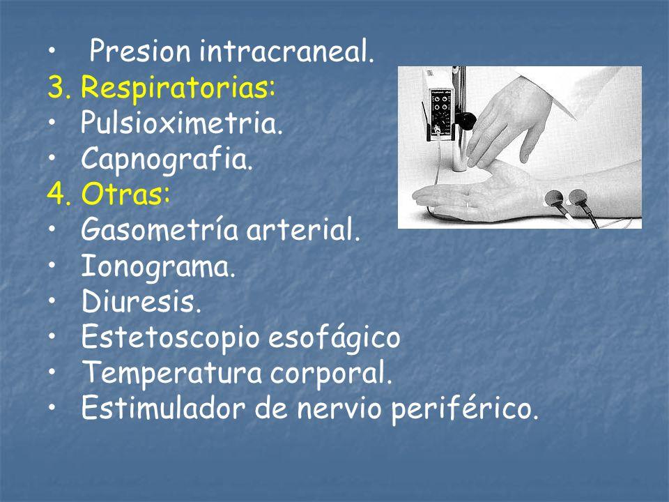 Presion intracraneal. 3. Respiratorias: Pulsioximetria. Capnografia. 4. Otras: Gasometría arterial.