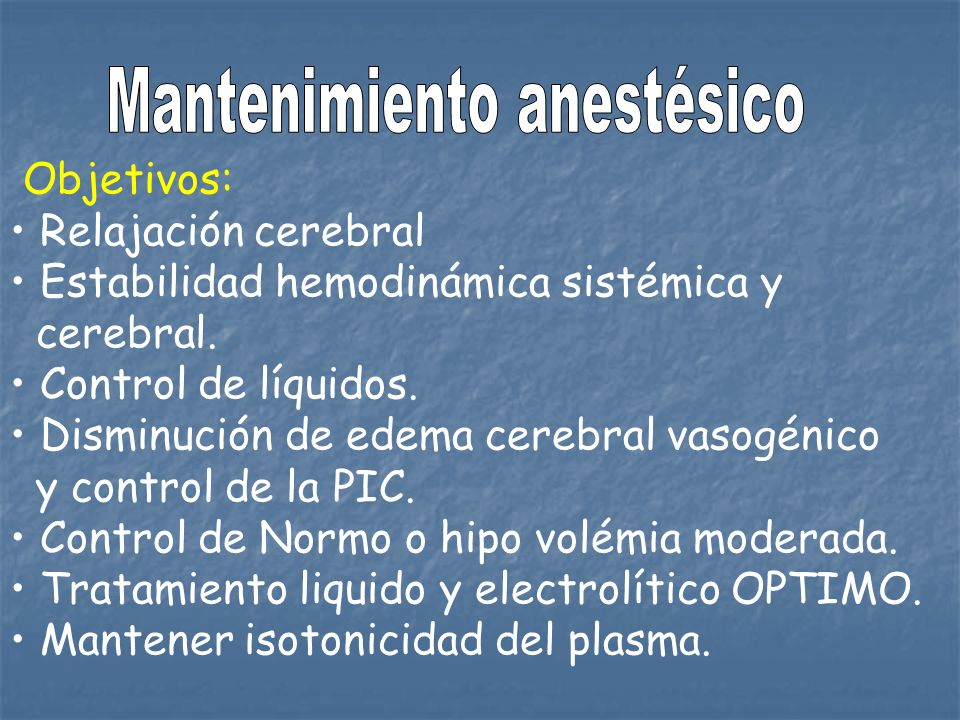 Mantenimiento anestésico