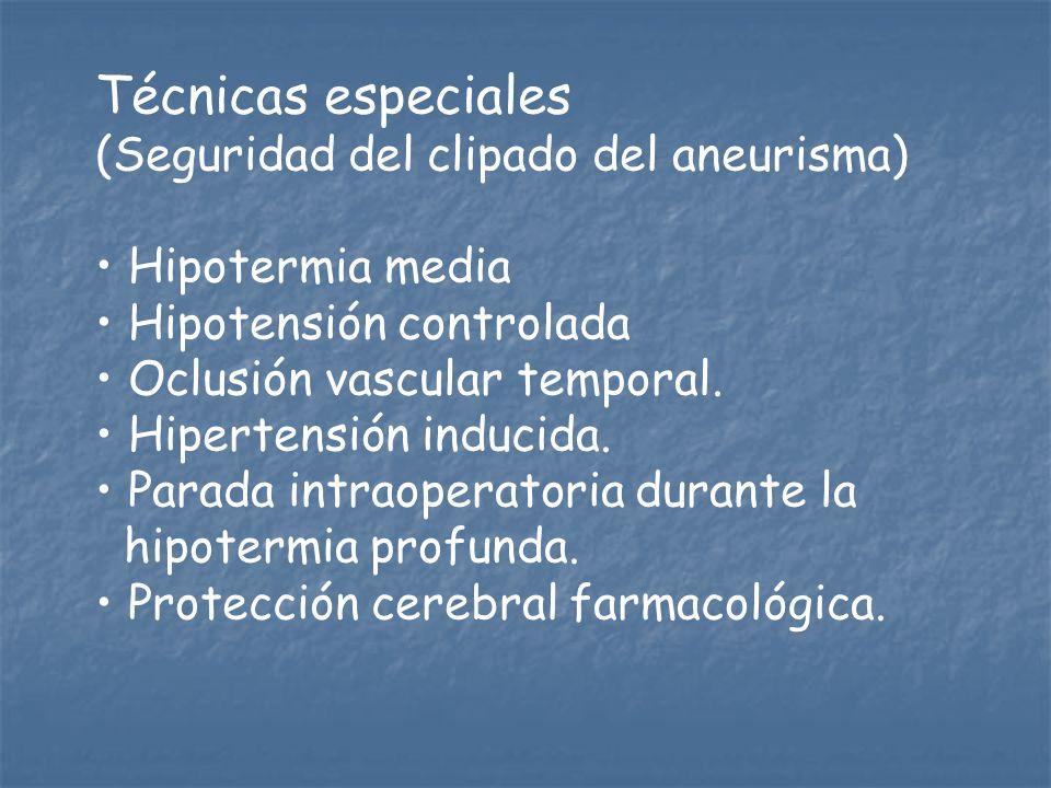 Técnicas especiales (Seguridad del clipado del aneurisma)