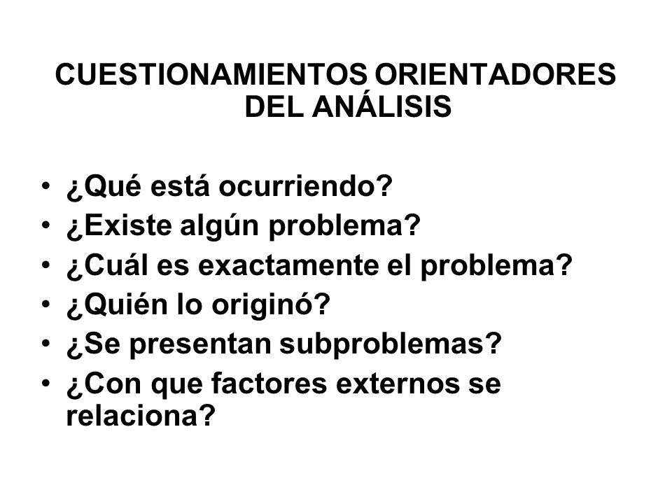 CUESTIONAMIENTOS ORIENTADORES DEL ANÁLISIS