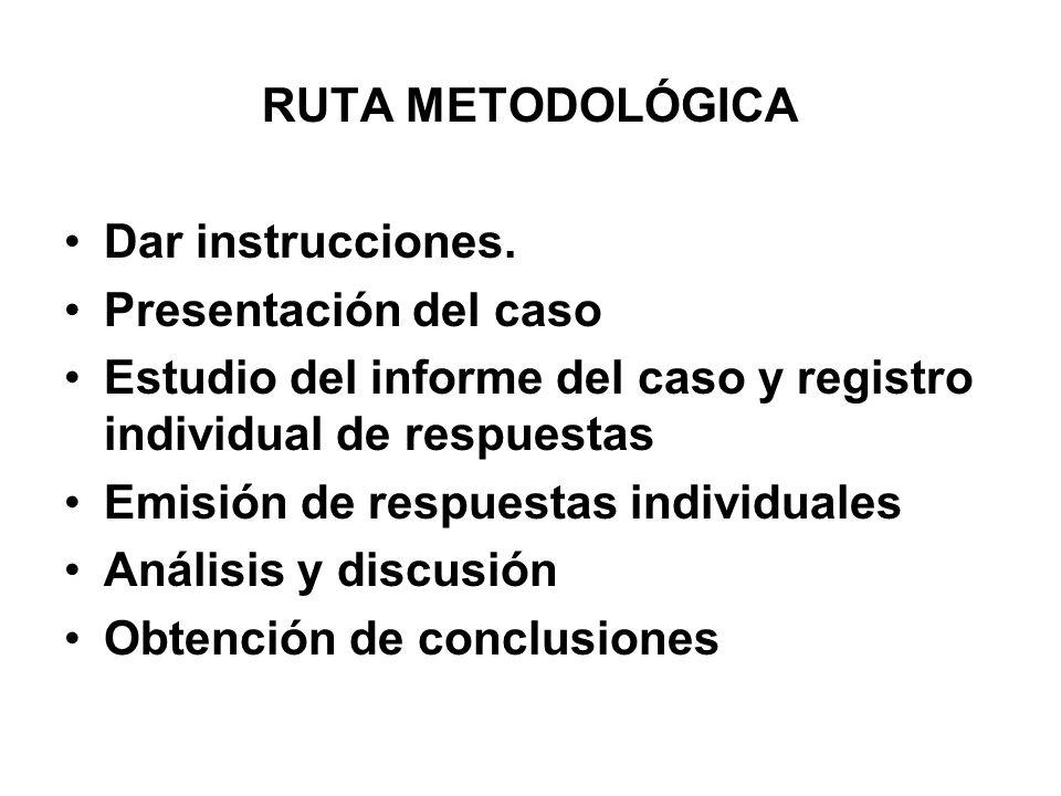 RUTA METODOLÓGICA Dar instrucciones. Presentación del caso. Estudio del informe del caso y registro individual de respuestas.