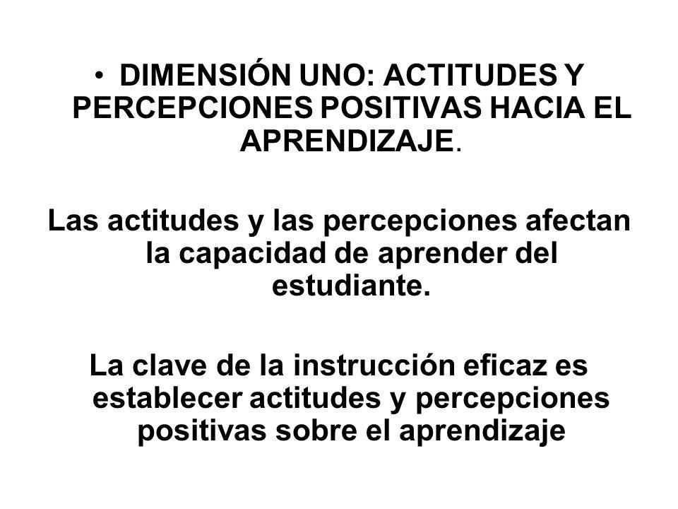DIMENSIÓN UNO: ACTITUDES Y PERCEPCIONES POSITIVAS HACIA EL APRENDIZAJE.