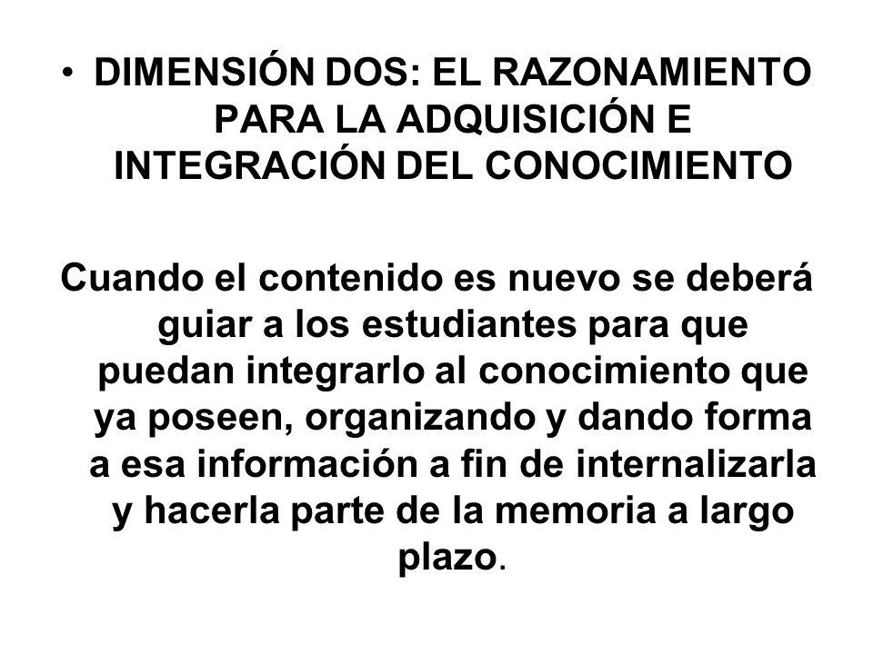 DIMENSIÓN DOS: EL RAZONAMIENTO PARA LA ADQUISICIÓN E INTEGRACIÓN DEL CONOCIMIENTO