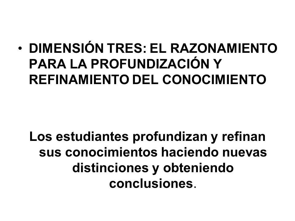 DIMENSIÓN TRES: EL RAZONAMIENTO PARA LA PROFUNDIZACIÓN Y REFINAMIENTO DEL CONOCIMIENTO