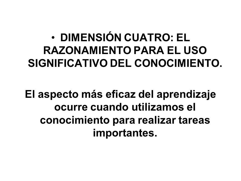 DIMENSIÓN CUATRO: EL RAZONAMIENTO PARA EL USO SIGNIFICATIVO DEL CONOCIMIENTO.