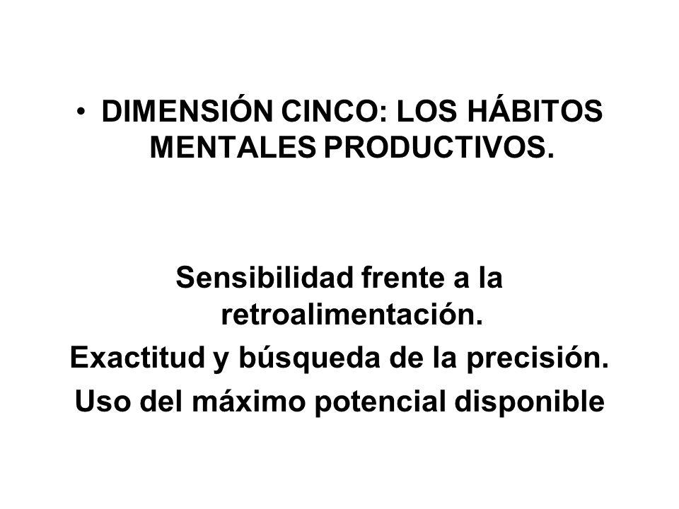 DIMENSIÓN CINCO: LOS HÁBITOS MENTALES PRODUCTIVOS.