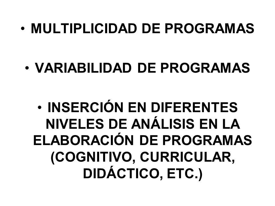 MULTIPLICIDAD DE PROGRAMAS VARIABILIDAD DE PROGRAMAS
