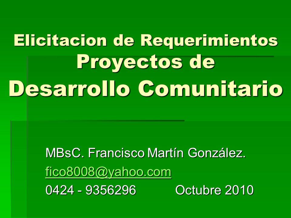 Elicitacion de Requerimientos Proyectos de Desarrollo Comunitario