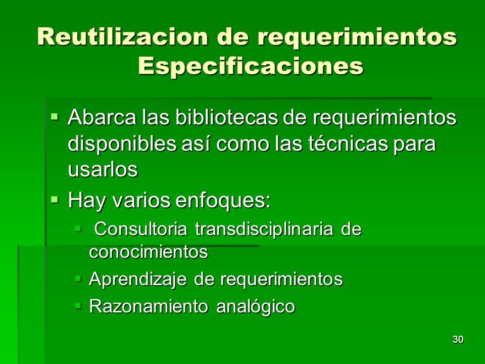 Reutilizacion de requerimientos Especificaciones