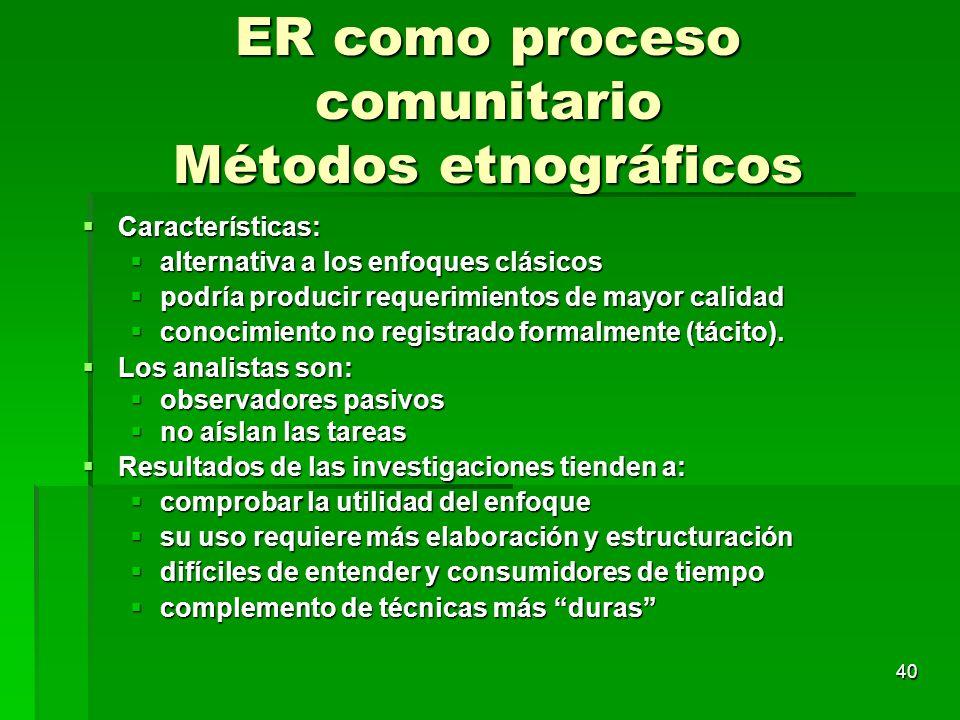 ER como proceso comunitario Métodos etnográficos