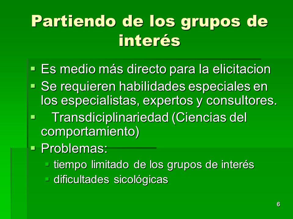Partiendo de los grupos de interés
