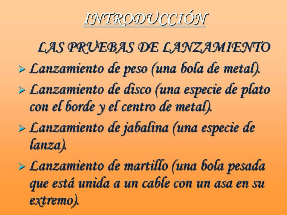 INTRODUCCIÓN Lanzamiento de peso (una bola de metal).