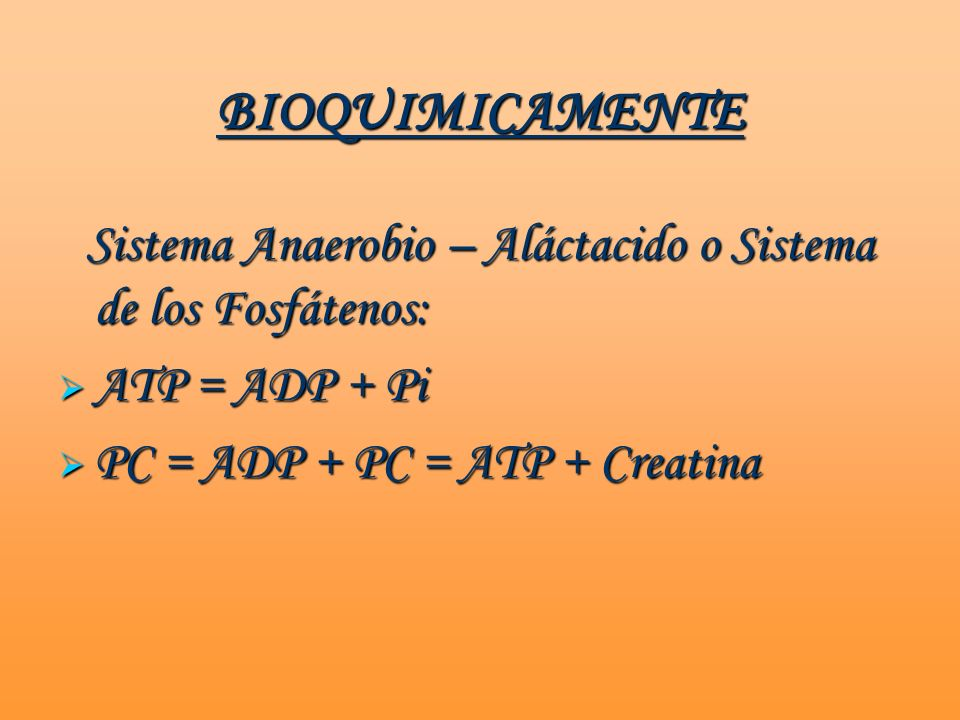 BIOQUIMICAMENTE ATP = ADP + Pi PC = ADP + PC = ATP + Creatina