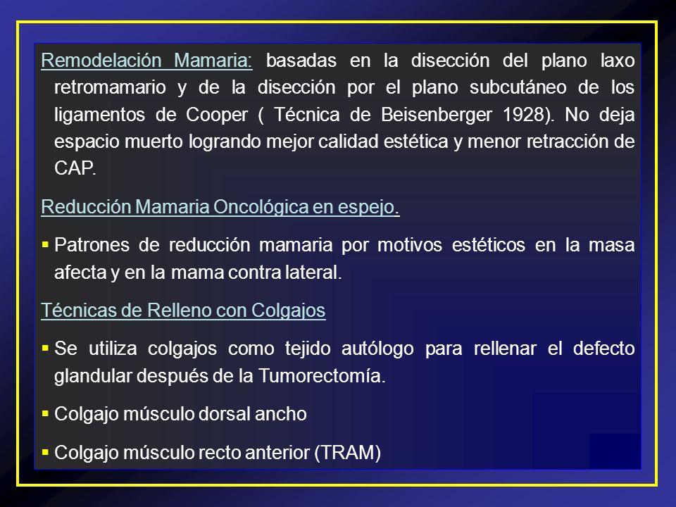 Remodelación Mamaria: basadas en la disección del plano laxo retromamario y de la disección por el plano subcutáneo de los ligamentos de Cooper ( Técnica de Beisenberger 1928). No deja espacio muerto logrando mejor calidad estética y menor retracción de CAP.