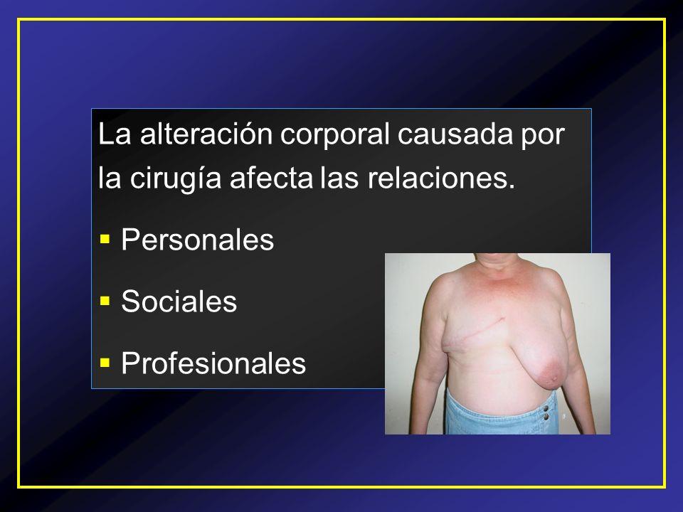 La alteración corporal causada por la cirugía afecta las relaciones.