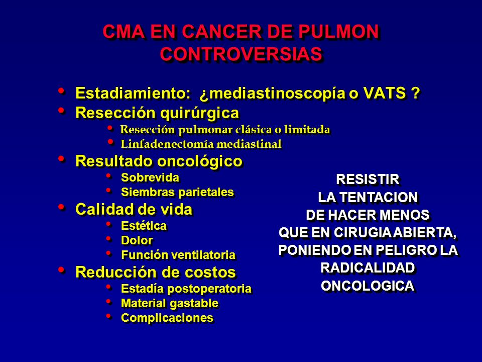 CMA EN CANCER DE PULMON CONTROVERSIAS