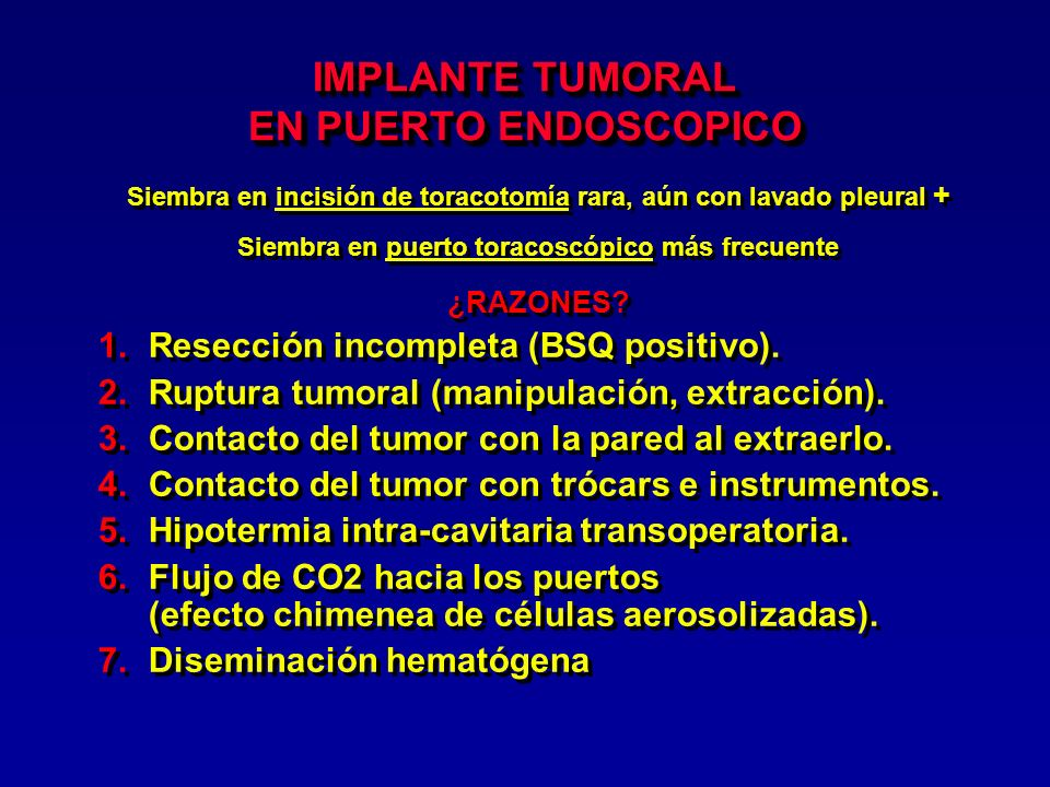 IMPLANTE TUMORAL EN PUERTO ENDOSCOPICO