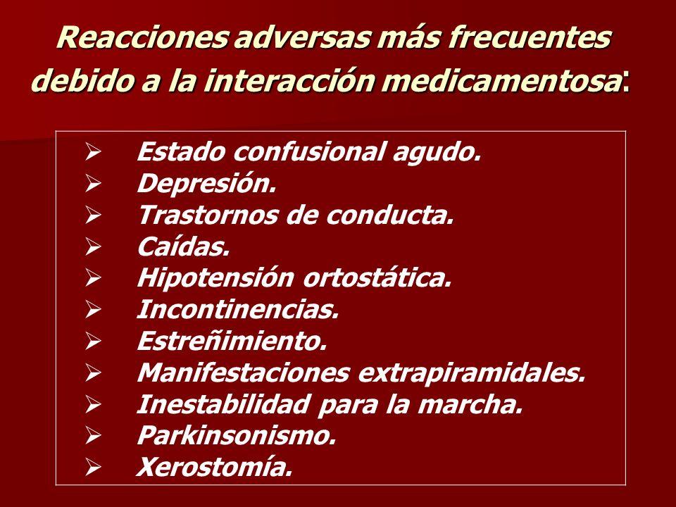Reacciones adversas más frecuentes debido a la interacción medicamentosa: