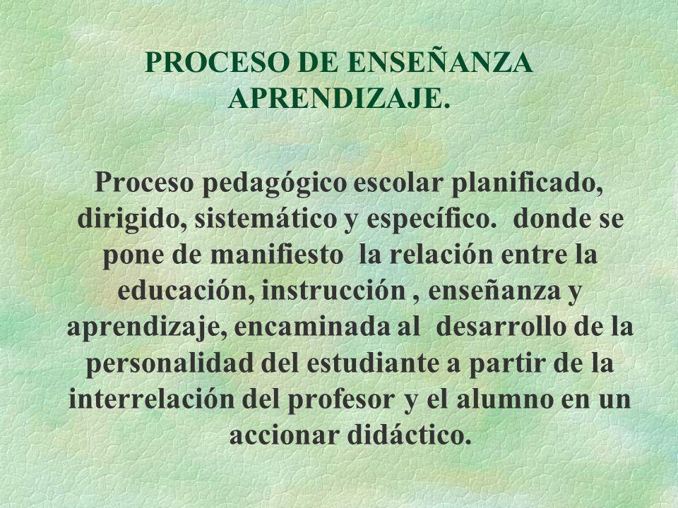 PROCESO DE ENSEÑANZA APRENDIZAJE.