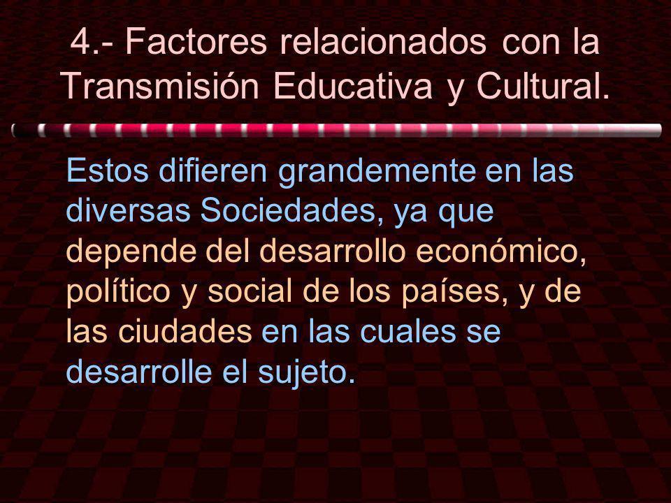 4.- Factores relacionados con la Transmisión Educativa y Cultural.