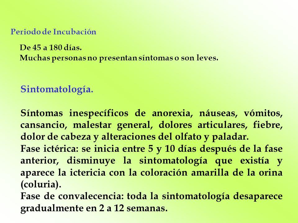 Periodo de Incubación Sintomatología.