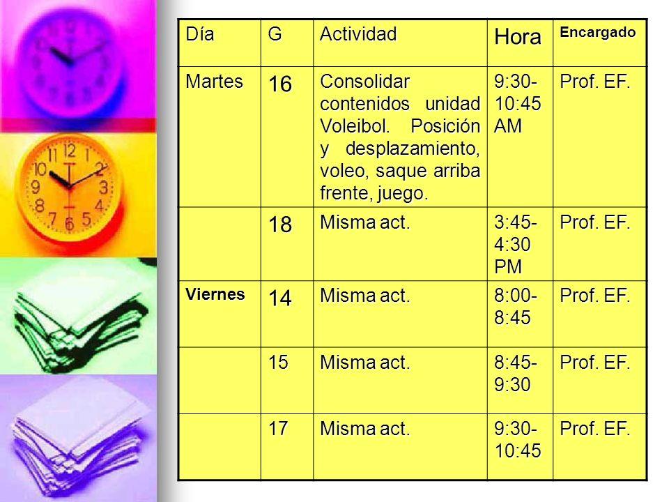 Hora 16 18 14 Día G Actividad Martes