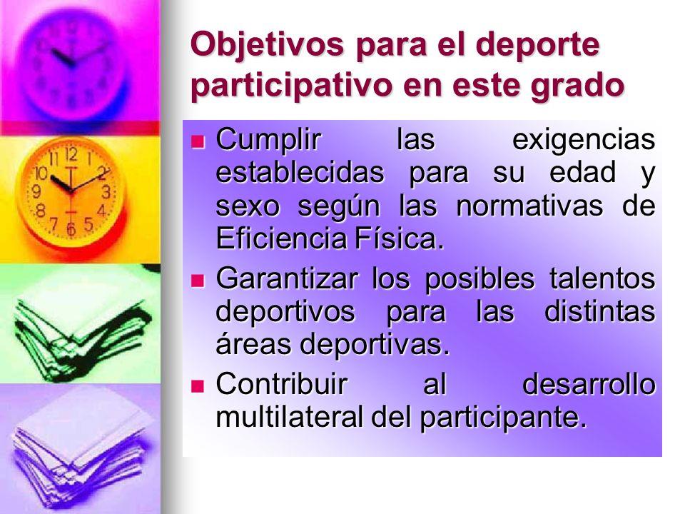 Objetivos para el deporte participativo en este grado