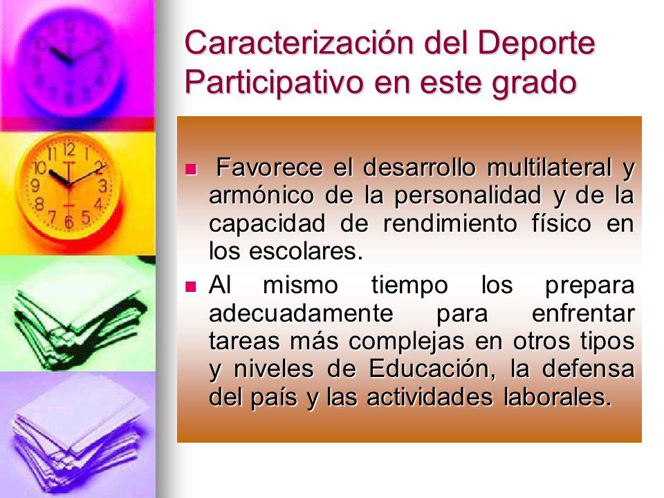 Caracterización del Deporte Participativo en este grado