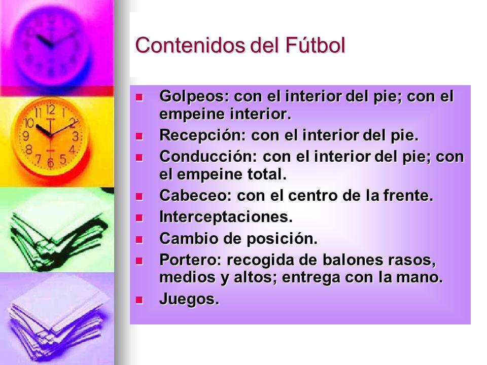 Contenidos del FútbolGolpeos: con el interior del pie; con el empeine interior. Recepción: con el interior del pie.