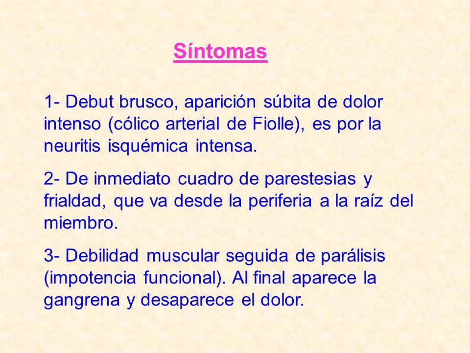 Síntomas1- Debut brusco, aparición súbita de dolor intenso (cólico arterial de Fiolle), es por la neuritis isquémica intensa.