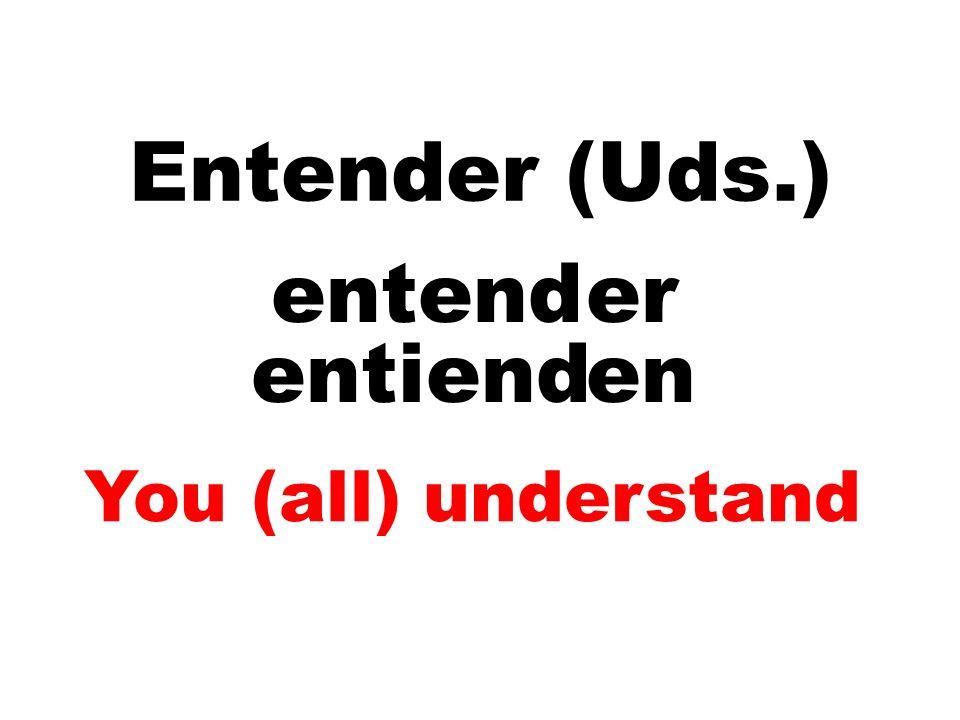 Entender (Uds.) entend er entiend en You (all) understand