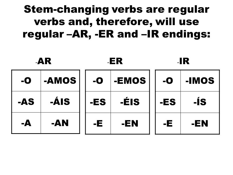 Stem-changing verbs are regular verbs and, therefore, will use regular –AR, -ER and –IR endings: