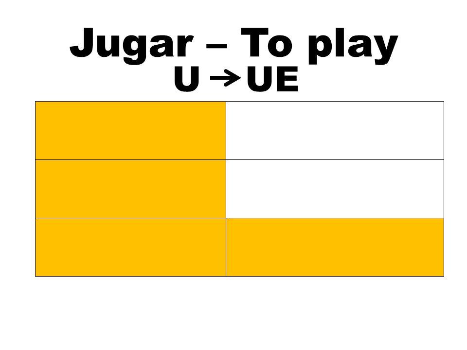 Jugar – To play U UE Juego Jugamos Juegas Jugáis Juega Juegan