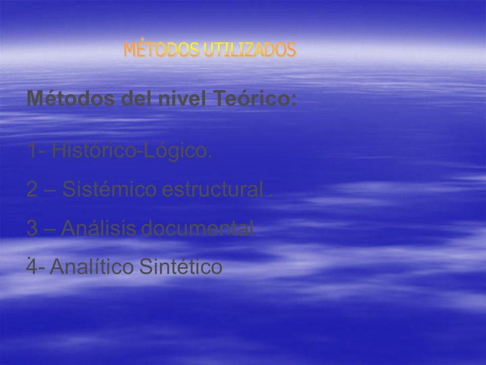 Métodos del nivel Teórico: 1- Histórico-Lógico.