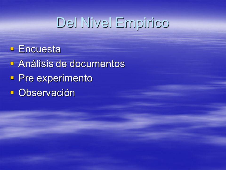 Del Nivel Empirico Encuesta Análisis de documentos Pre experimento