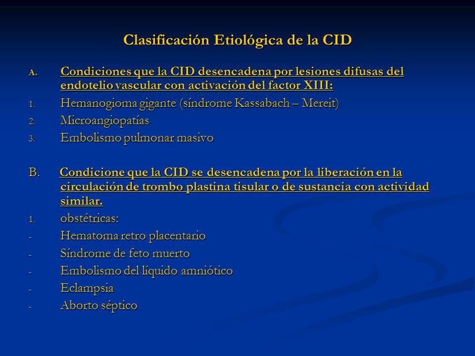 Clasificación Etiológica de la CID