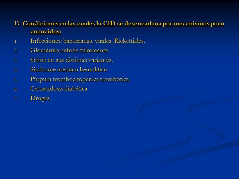 D. Condiciones en las cuales la CID se desencadena por mecanismos poco conocidos: