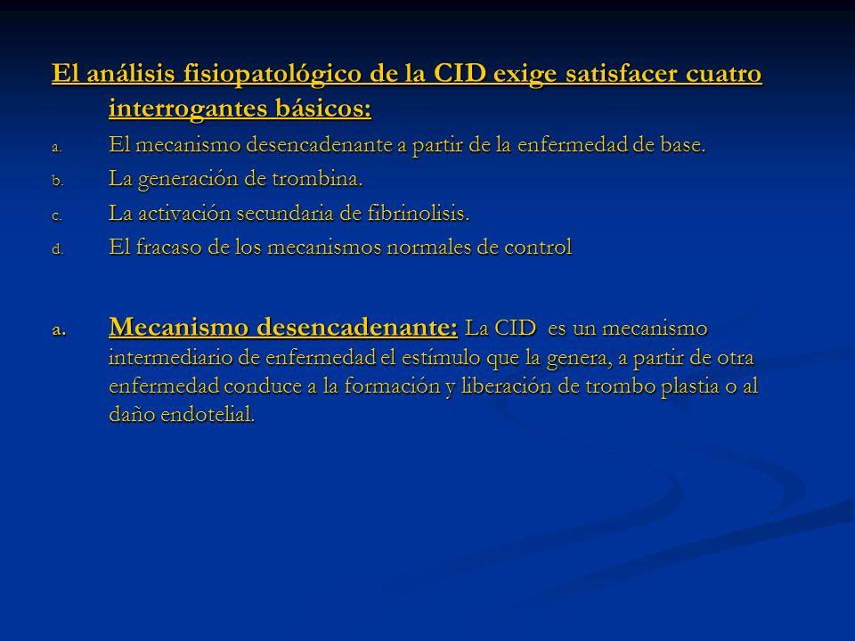 El análisis fisiopatológico de la CID exige satisfacer cuatro interrogantes básicos: