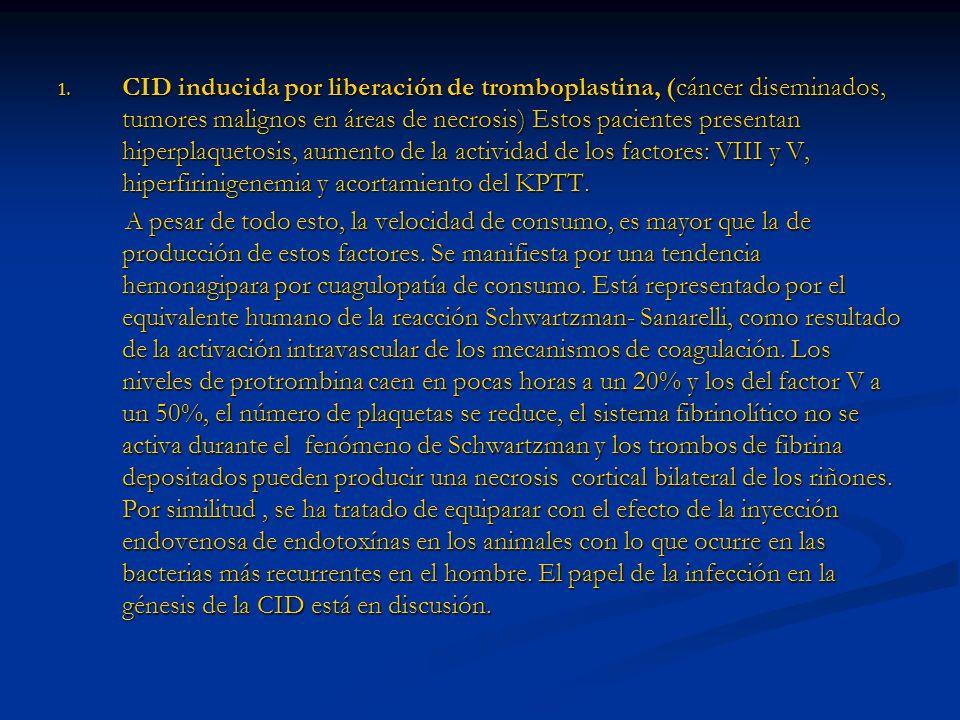 CID inducida por liberación de tromboplastina, (cáncer diseminados, tumores malignos en áreas de necrosis) Estos pacientes presentan hiperplaquetosis, aumento de la actividad de los factores: VIII y V, hiperfirinigenemia y acortamiento del KPTT.