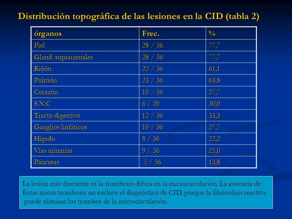 Distribución topográfica de las lesiones en la CID (tabla 2)