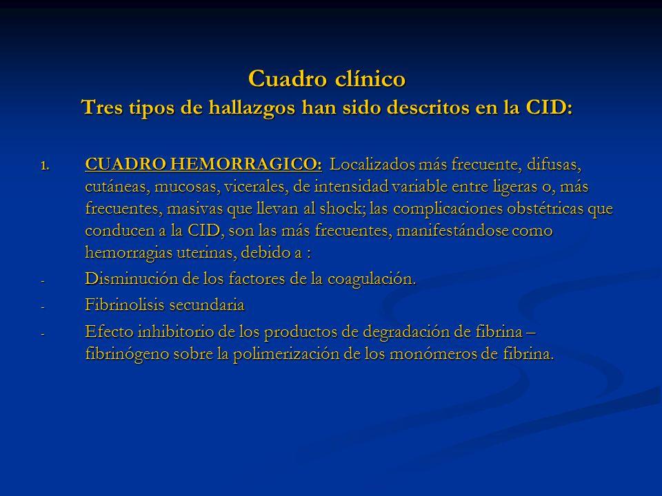 Cuadro clínico Tres tipos de hallazgos han sido descritos en la CID: