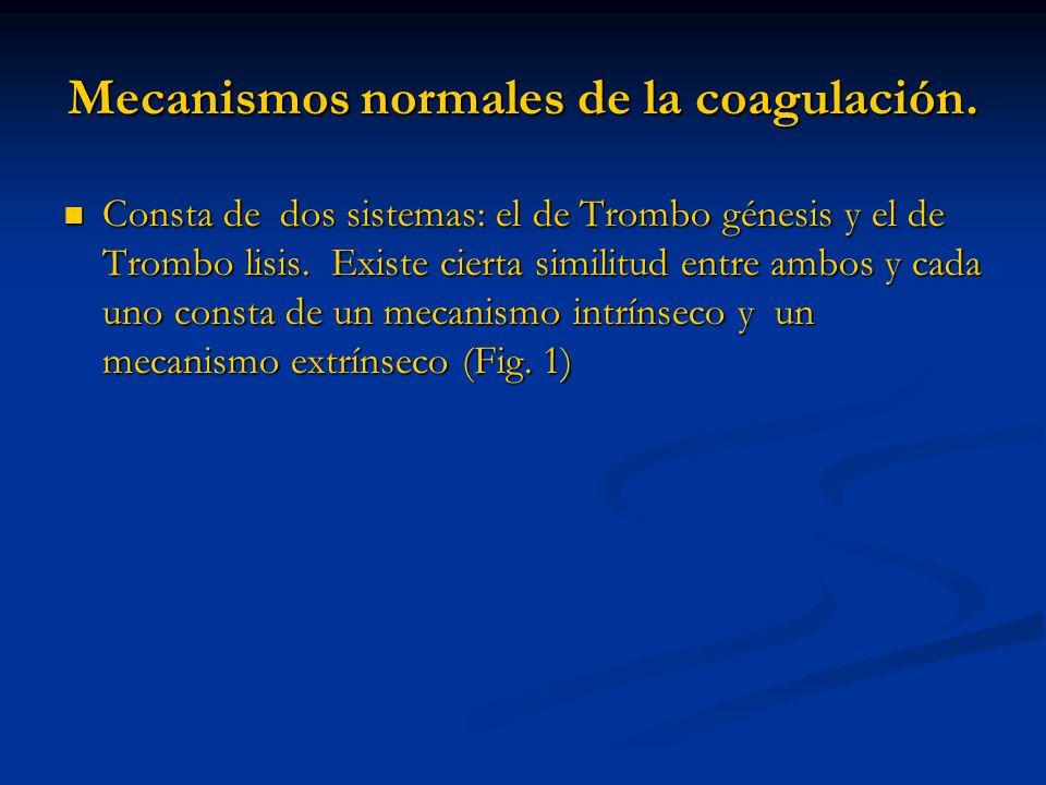 Mecanismos normales de la coagulación.